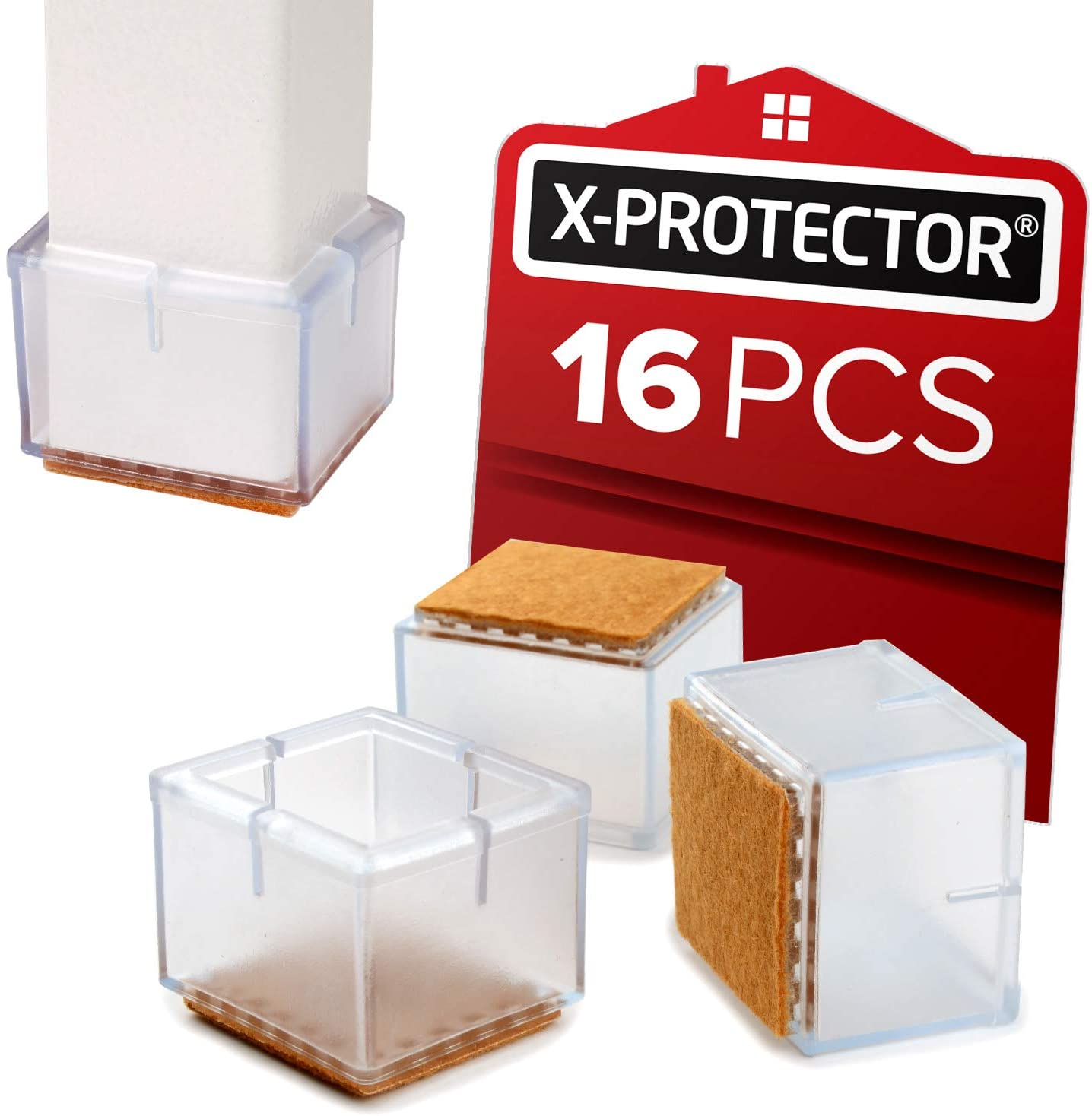 "Chair Leg Caps X-PROTECTOR - Silicone Floor Protectors for chairs 1 ¾"" 16pcs - Best Silicone Furniture Leg Caps - Premium Chair Protectors for Hardwood Floors – Protect and GLIDE SMOOTHLY on the Floor"