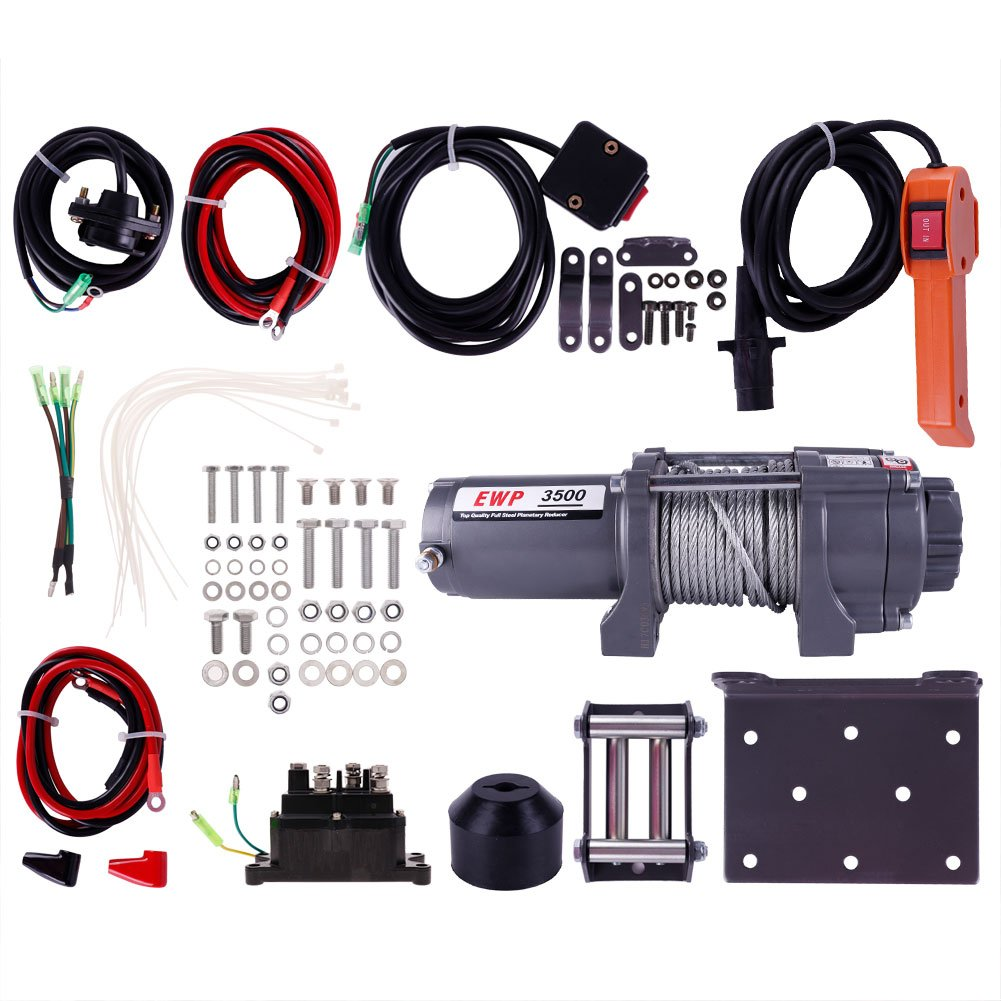 3500lb 12V Electric Recovery Winch Kit For ATV UTV Boat Plow Fork Lift Pure Copper Motor by ExGizmo