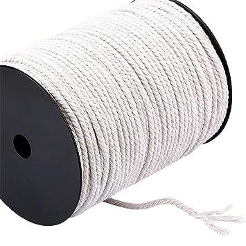 FineInno 4mmx200mb Hilo Macramé Cordón de Algodón Cuerda YuteNatural Cordel  Cañamo Rollo para Hecho a Mano 6f8109a963b