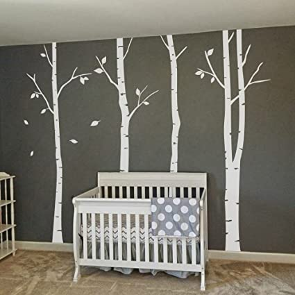 MairGwall Set Of 4 Birch Tree Wall Decal   Vinyl Removable Wall Decor DTY  Art Mural