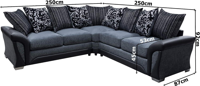 Sharon Corner Sofa Grey And Black Fabric Chenille Leather Amazon Co Uk Kitchen Home