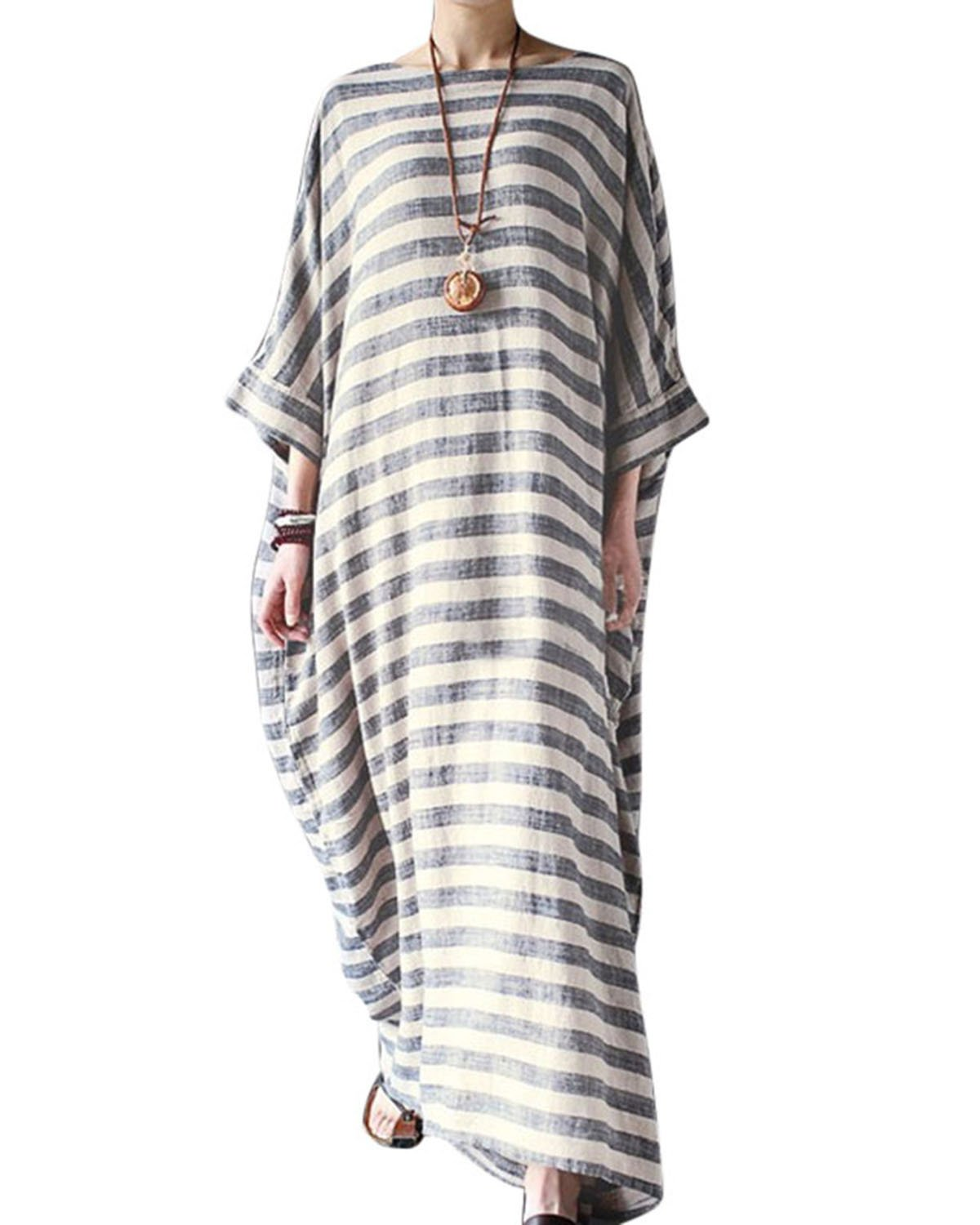 Jacansi Women Beach Party Striped Round Neck Batwing Sleeve Plus-Size Baggy Long Dress S