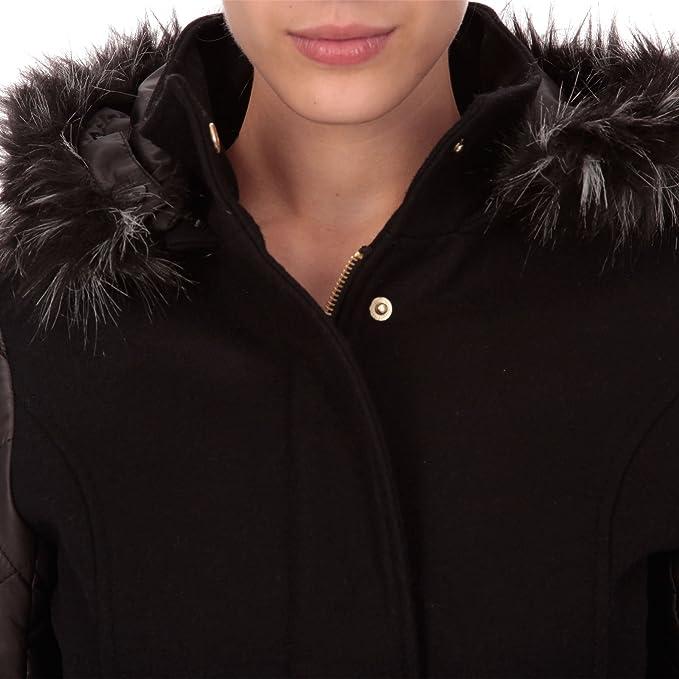 85207b88a9ea3 Morgan Doudoune Col Fourrure - Manteau Bi-Matière - Femme - Noir - 36   Amazon.fr  Vêtements et accessoires