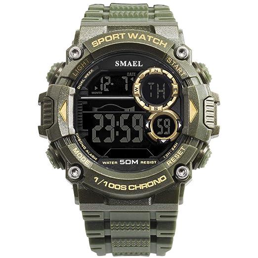 AnazoZ Reloj Multifunción Reloj Hombre Luminoso Reloj Deportivo Reloj Impermeable Reloj de Pantalla Única Reloj Hombre Relojes Electronicos Verde: ...