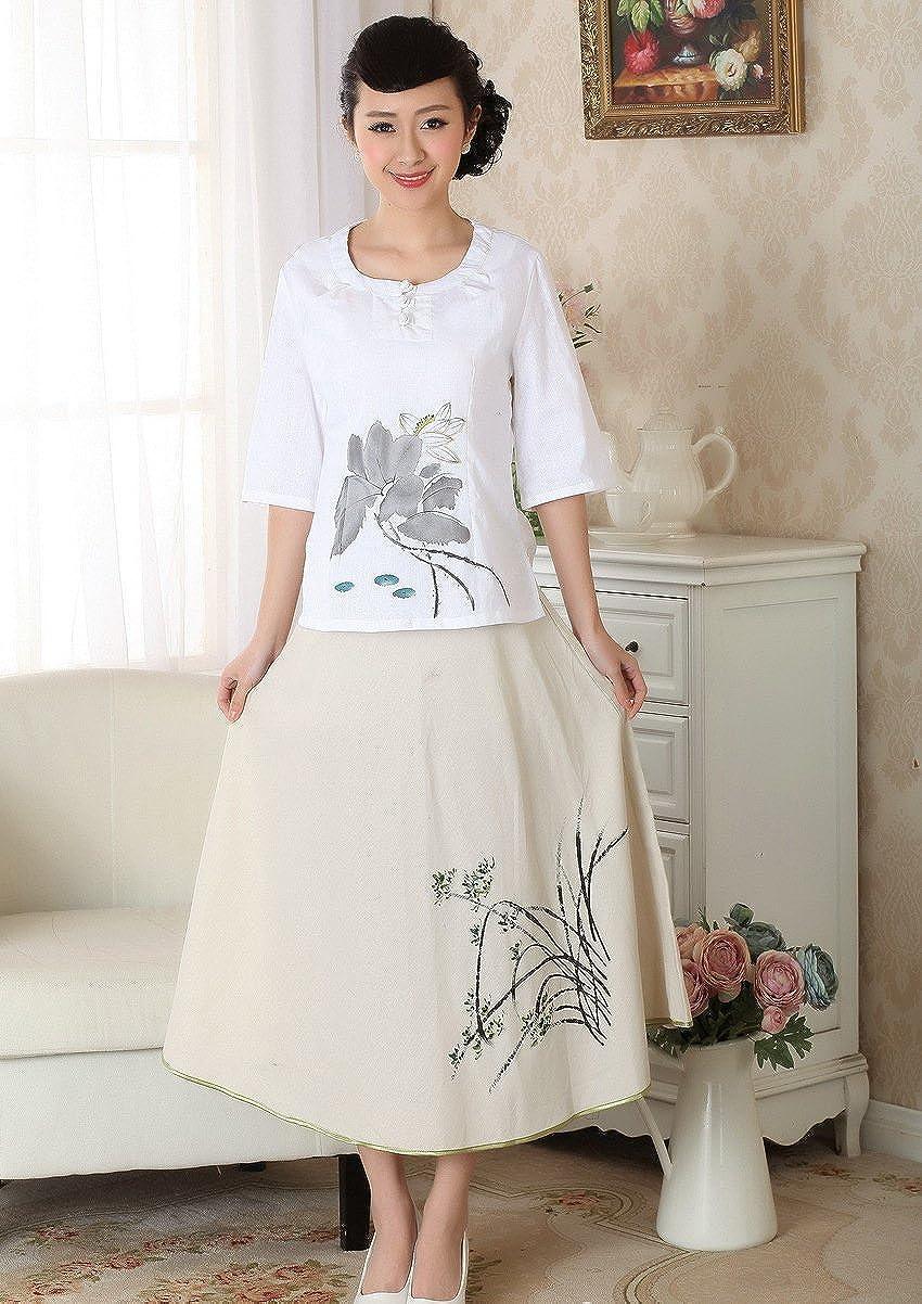 Jtc TM Womens A-line Skirt Long Loose Elastic Waistband Beige