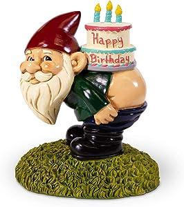 Kwirkworks Funny Garden Gnome - Happy Birthday Cake Decorative Lawn Statue - 8 inches Tall