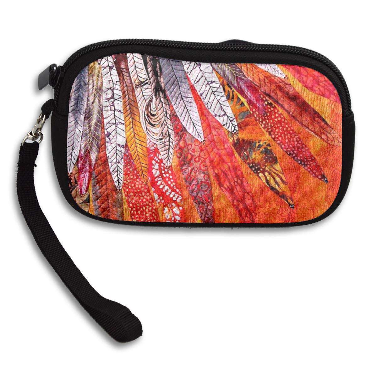 Fancy Dancer Indian Feather Coin Pouch Clutch Purse Wristlet Wallet Phone Card Holder Handbag