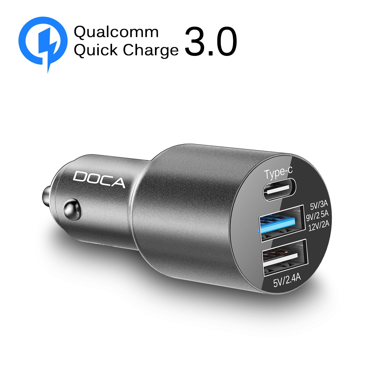 DOCA Car Charger, Quick Charger 3.0 Type-C & Dual USB Port 3A 5-24V Fast Car Charger Adapter for iPhone,iPad,Samsung Galaxy, HTC,LG and More IOS & Android Devices