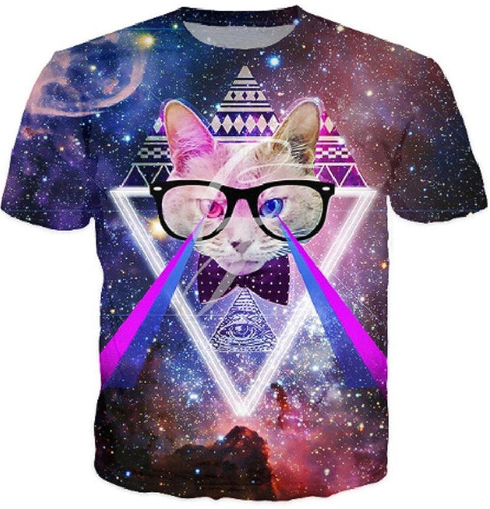 Cat 3D Printed Blue//Red Galaxy Tee Shirt Casual Animal Unisex T Shirt