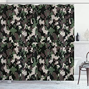 """Ambesonne Camo Shower Curtain, Pixelated Pattern Digital Effect Modern Conceptual Camouflage Texture, Cloth Fabric Bathroom Decor Set with Hooks, 75"""" Long, Green Beige"""