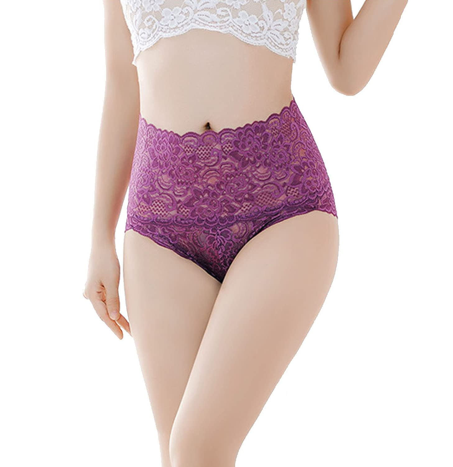 cool nik Women's High Waist Lace Panties Comfortable Underwear with High Elastic