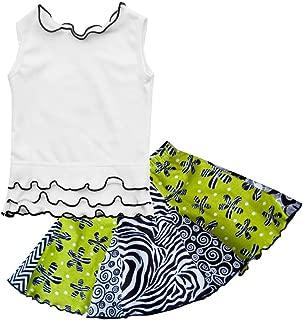 product image for Cheeky Banana Little Girls Bohemian Twirl Skirt & tee Set Size 2 Lime/Black/White
