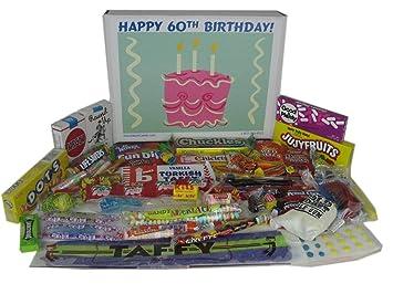 Happy 60th Birthday Party Celebration Ideas Gift Basket Box Of Retro Candy