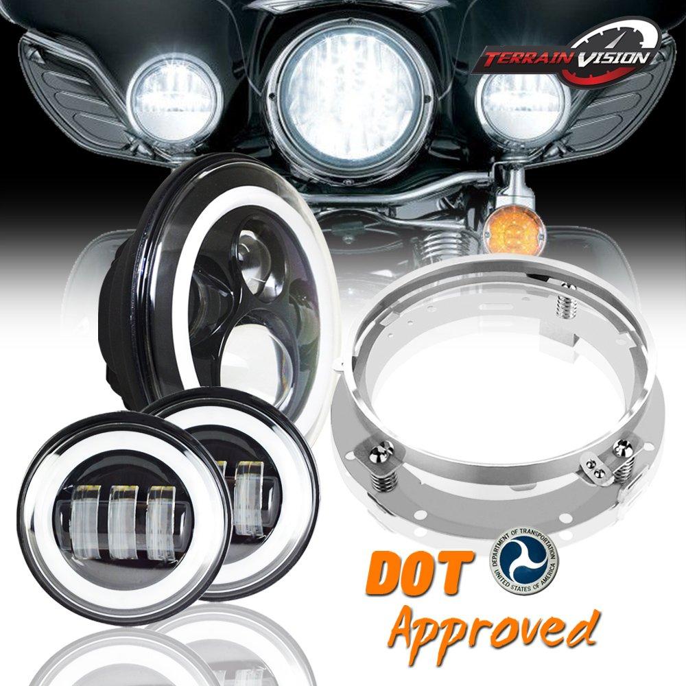 7 U0026quot  Headlight Led Halo Ring For Kawasaki Vulcan Vn 500 750 800 900 1500 1600 1700