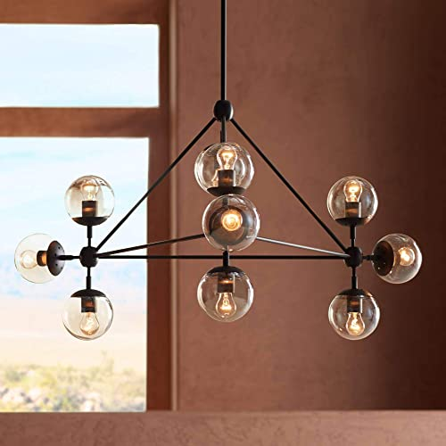 Gable Black Large Chandelier 40 Wide Industrial Modern Cognac Glass Globe 10-Light Fixture for Dining Room House Foyer Kitchen Island Entryway Bedroom Living Room – Possini Euro Design