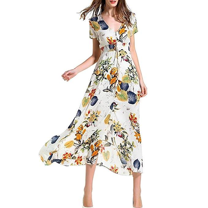 96009845921 Yondcc Womens Bohemian Button Up Floral Print Beach Maxi Dresses at Amazon  Women s Clothing store