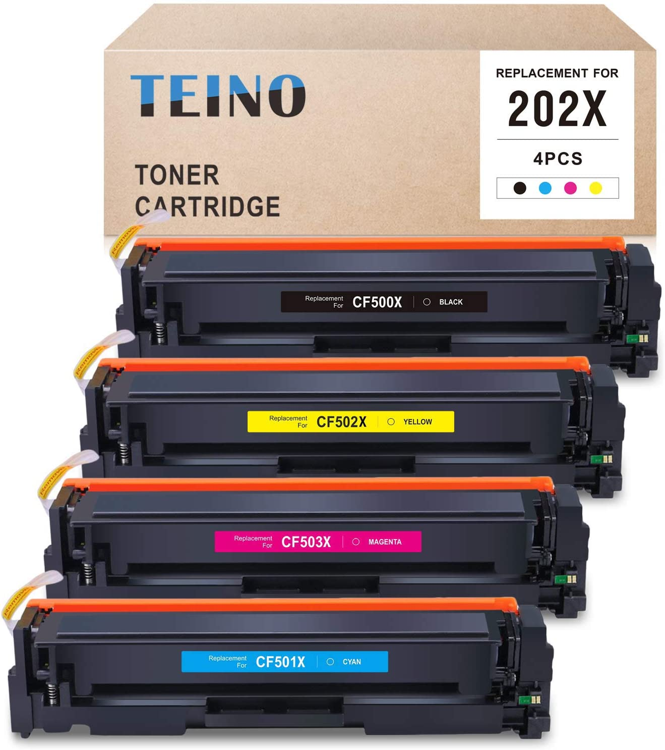 TEINO Compatible Toner Cartridge Replacement for HP 202X CF500X 202A CF500A for Color Laserjet Pro MFP M281fdw M281cdw M280nw Color Laserjet Pro M254dw (Black, Cyan, Magenta, Yellow, 4 Pack)