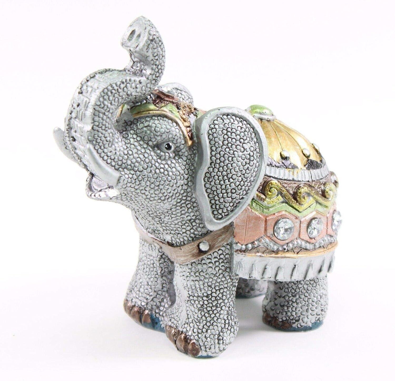 Feng Shui Elephant Trunk Statue Lucky Figurine Gift Home Decor Gray 4.5''