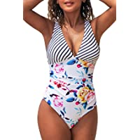 CUPSHE Women's Black White Gingham Ruched Back Cross One Piece Swimsuit