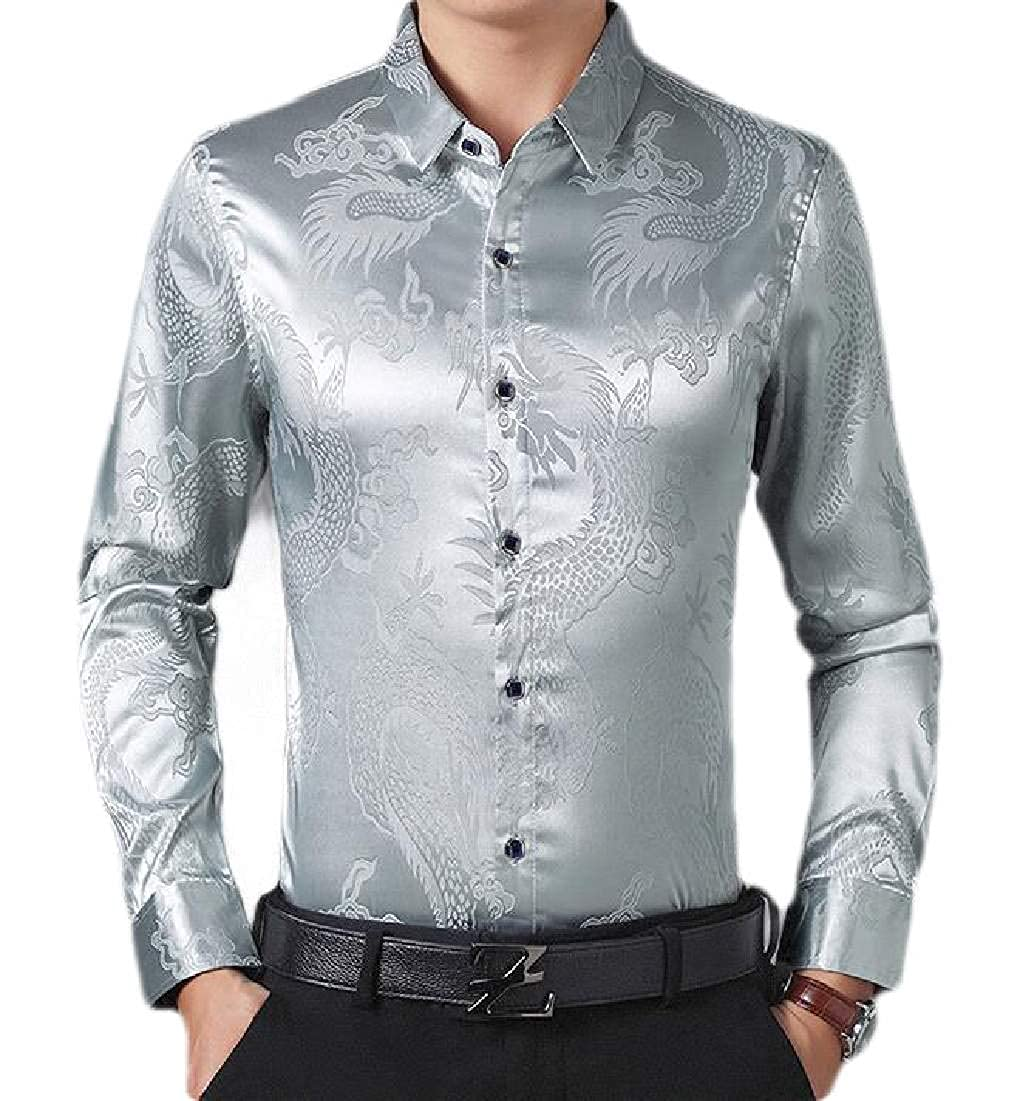 pipigo Men Big /& Tall Long Sleeve Silk Slim Fit Dress Shirt Button Down Shirt