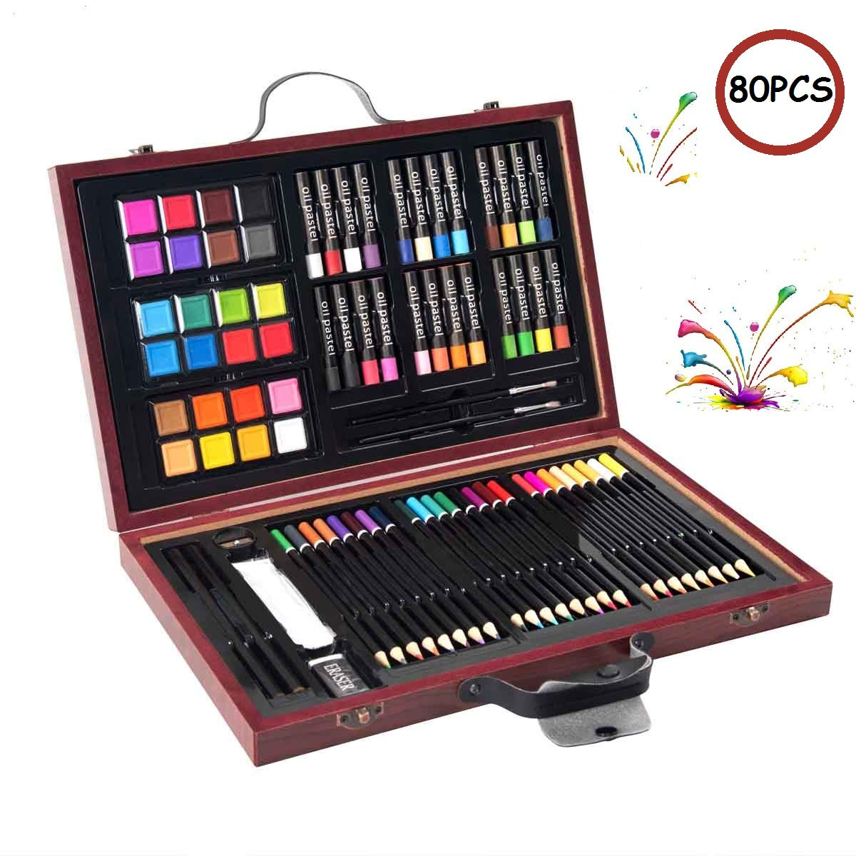 Costway 80 Piece Deluxe Art Set Painting Drawing Art School Stationery Creativity Set Kids Children Gift in Wooden Case