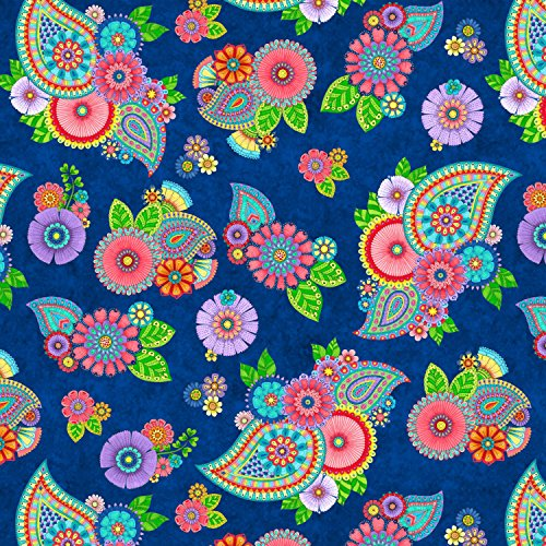 Angel Paisley (1 Yard Night Bright Blue Paisley Floral by Hello Angel from Wilmington Prints Cotton Quilt Fabric 77603-436 Blue)