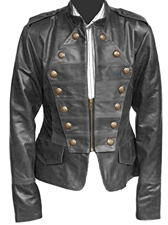 aac13f79d2a Handmade Fitters Women Military Style Leather Jacket at Amazon Women s Coats  Shop