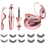 [5 Pairs] Magnetic Eyelashes and Eyeliner Kit, Lanvier Reusable 3D Magnetic False Lashes Extension No Glue Needed - Black