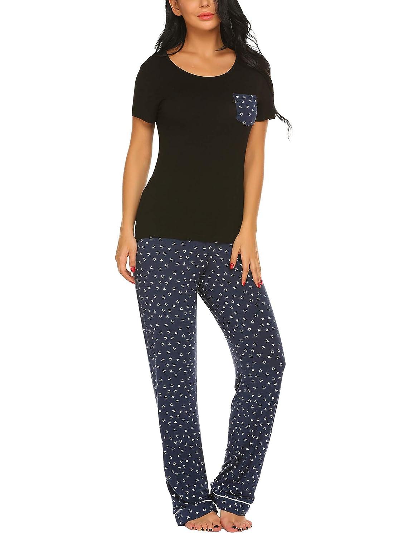 3f8af955de Ekouaer Women s Pjs Print Animal Pajama Set Dog Elegant Pants Sleepwear  Plus Size S-XXL at Amazon Women s Clothing store