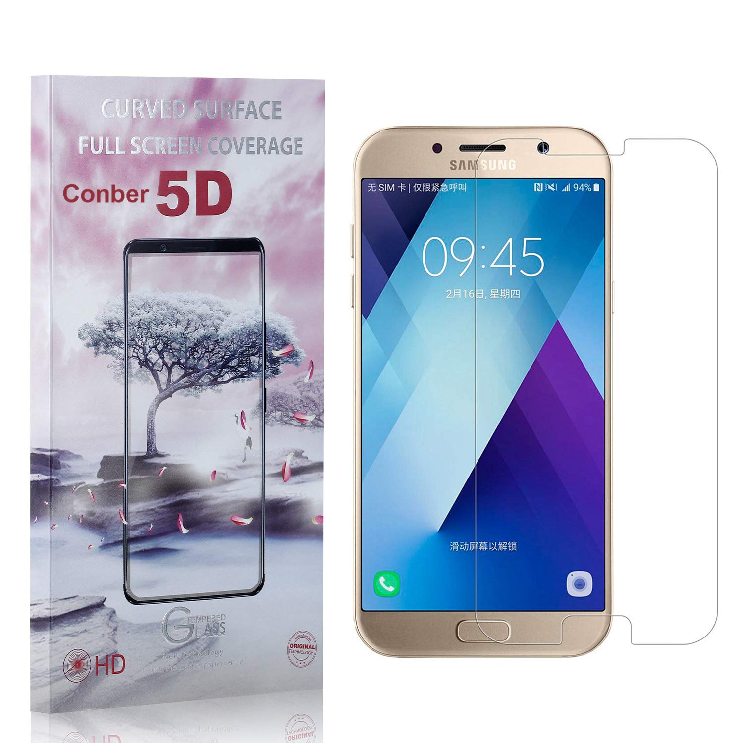 Anti-Shatter 1 Pack Case Friendly Premium Tempered Glass Screen Protector for Samsung Galaxy A5 2017 Scratch-Resistant Screen Protector for Samsung Galaxy A5 2017, Conber