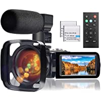 Video Camera Camcorder with Microphone, Full HD 1080P 24MP 30FPS FamBrow Digital YouTube Vlogging Camera Recorder Night…