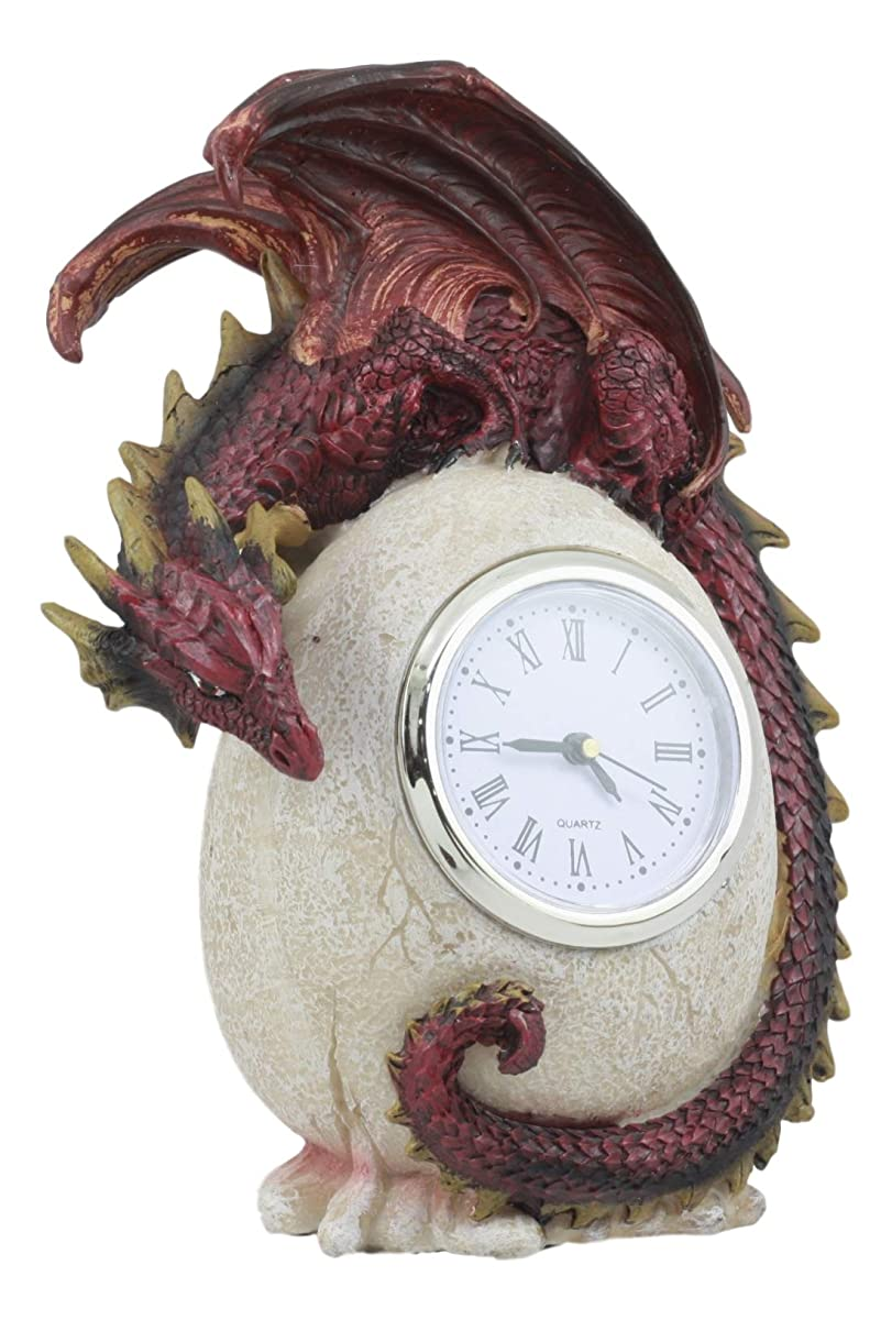 "Ebros Red Ember Dragon Protecting Egg Table Clock Figurine 7"" Tall Mythical Fantasy Dragon Egg Clock"