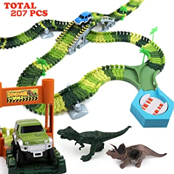 192 Piece Klobroz Dinosaur Track Race Car Toys Playset