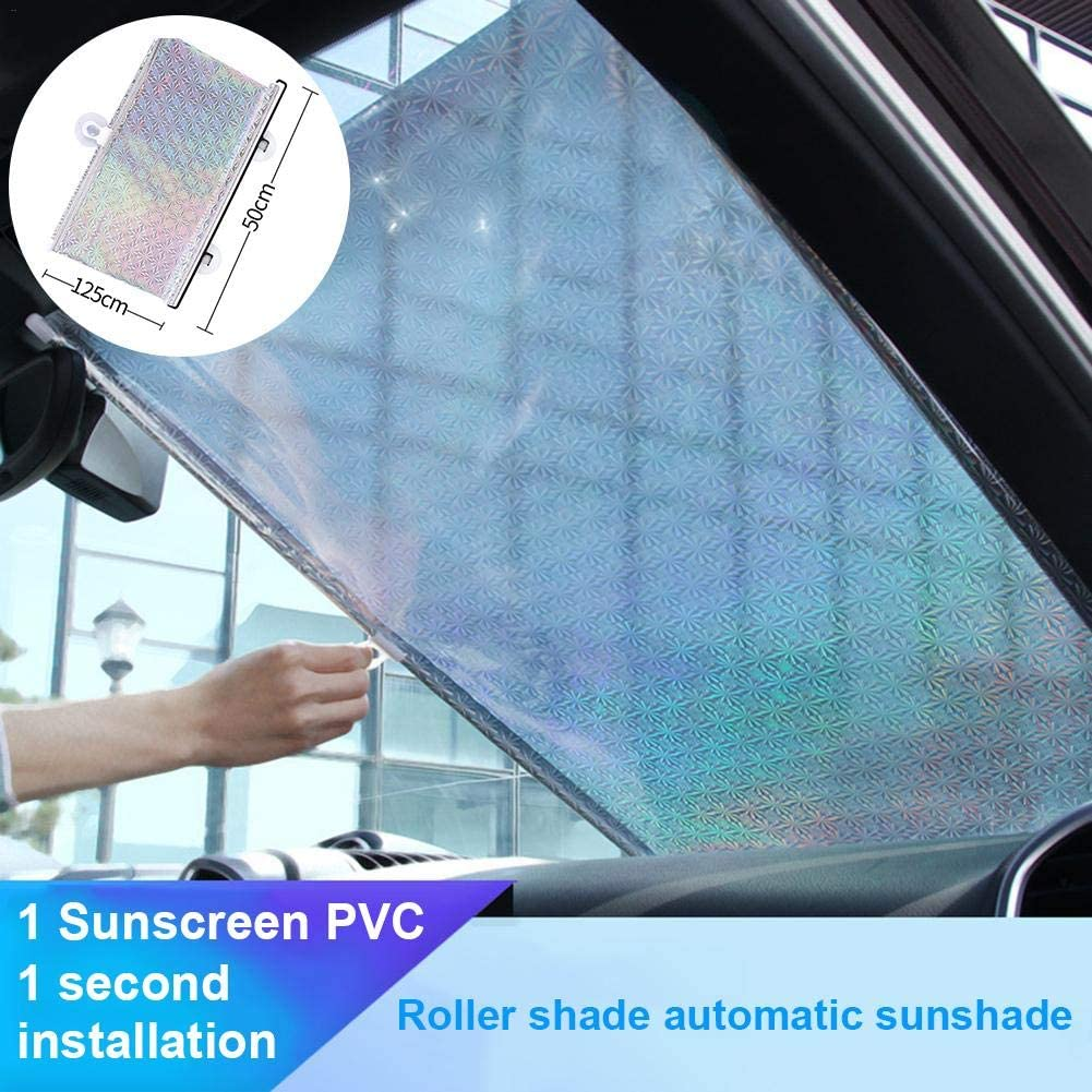 Keep Your Vehicle Cool Durable Car Visor Automatic/ Retractable/ Sunshade for SUV Trucks Cars 45X125cm Rich-home Car Windshield Sun Shade