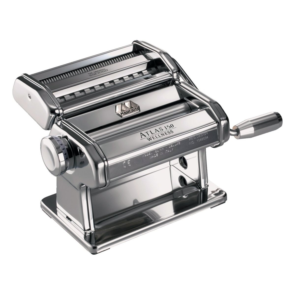 Marcato Atlas Pasta Machine, Silver, 150-Millimeters Wide, Includes Pasta Machine with Pasta Cutter, Hand Crank, and Instructions by Marcato (Image #1)
