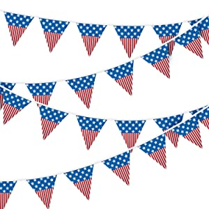 ZYP 131 Feet Patriotic Pennant Banner, American Flag Stars and Stripes Flag Bunting Banner Garland 4th of July Independence Memorial Day Decorations Party Supplies