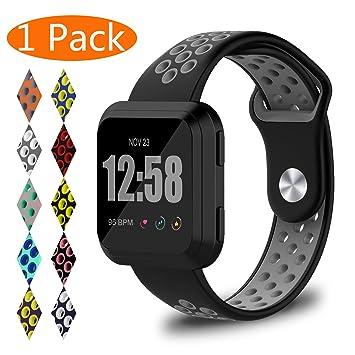 KingAcc Bracelet de rechange en silicone pour montre connectée Fitbit Versa avec fermoir en métal - Bracelet ...