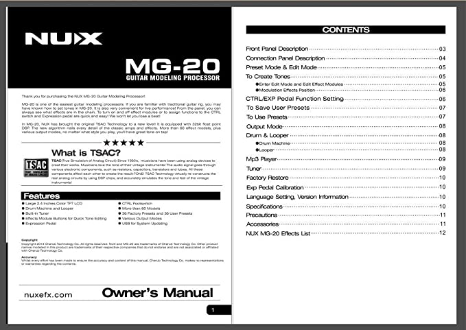 twinbuys Nux MG-20 eléctrico modelado guitarra ME-25 suelo máquina de efectos de guitarra con tambor y Looper función: Amazon.es: Instrumentos musicales