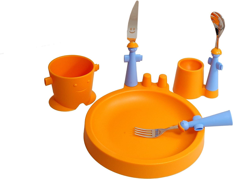 Color Naranja Rivadossi Juego de Cubiertos con dise/ño de Marionetas 3 Piezas