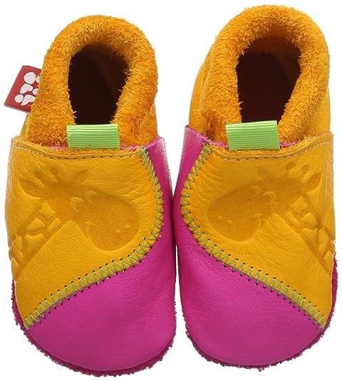 Pololo Giraffe mango/pink - Zapatillas de casa de cuero niña, color amarillo,