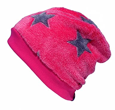 165eda040ac Woll Poulet Chaud Bonnet Rose avec des étoiles pour Les Filles ...