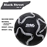 SYN6 Football, Street Soccer Ball Black, Made with Recycled Tyre, Excellent for Concret and Hard Grounds, Size 5 (Black)