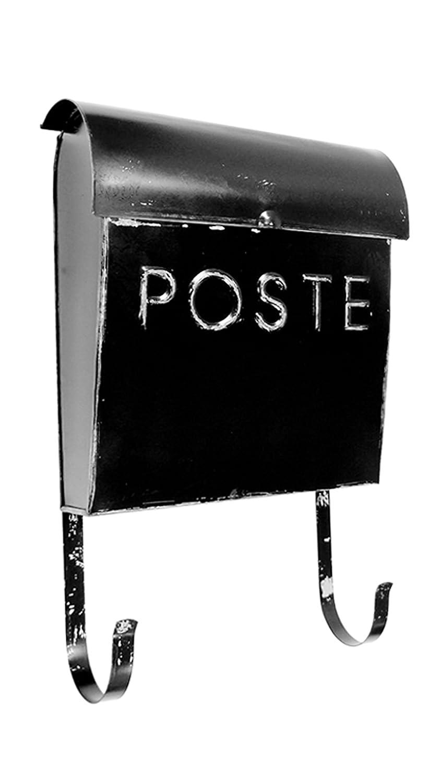 NACH TH-10043 French Euro Rustic Mailbox Wall Mounted Post Box Black 12 x 11.2 x 4.5 inch