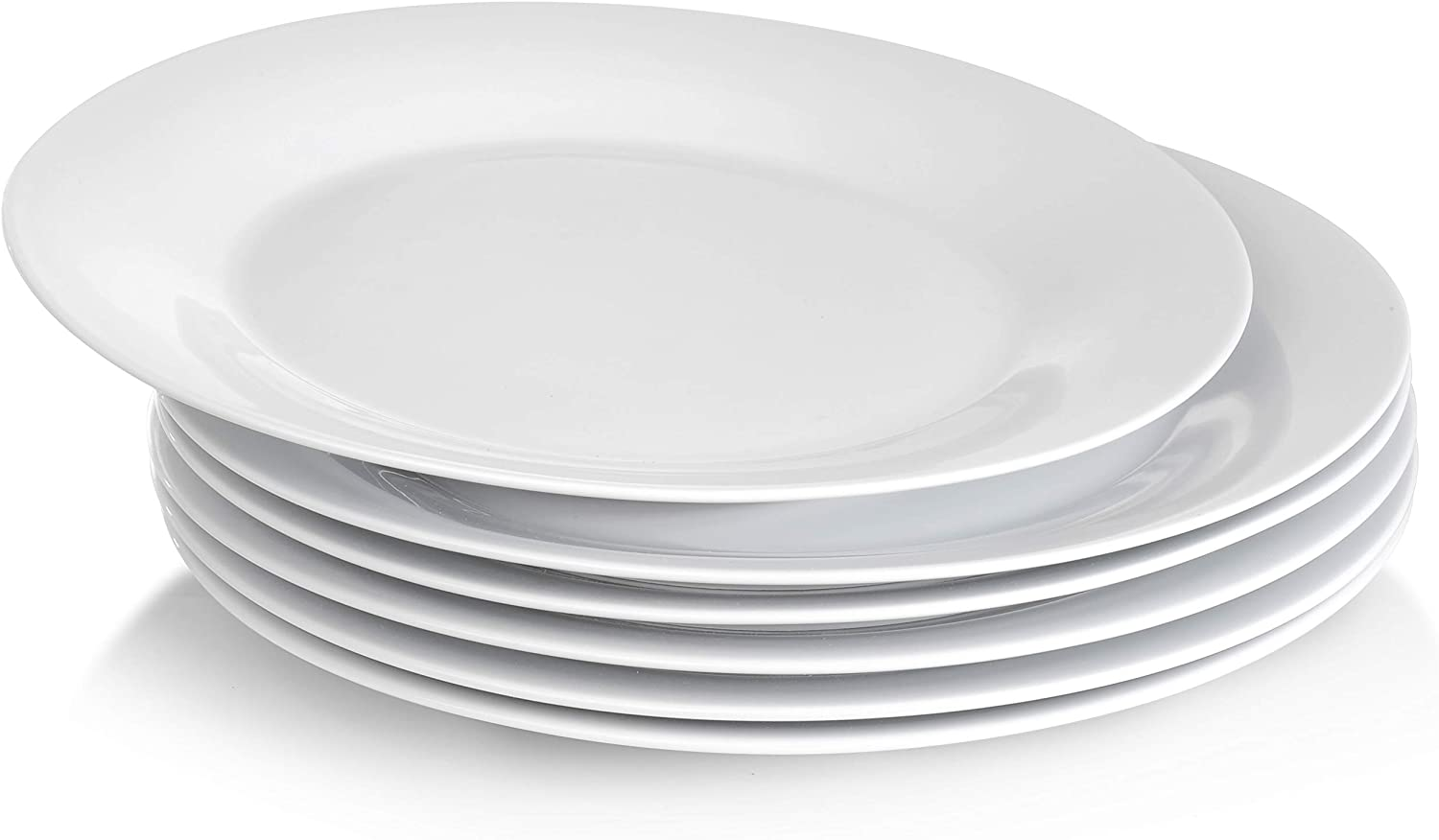 Miicol 10.5 Inches Porcelain Dinner Plates, Everyday Serving Plate Set, Set of 6, White