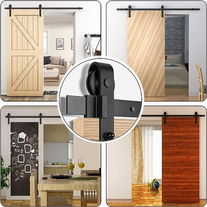 Juego de rieles para puerta corredera de 2 m y pestillo de bloqueo para puerta individual de 91,4 a 101,6 cm de ancho y 4,4 cm de grosor, percha en forma de