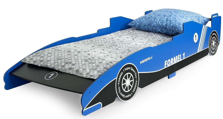 Leomark KINDERBETT 200x90 mit Schublade Funktionsbett Einzelbett mit Matratze Motiv Formel 1 Farbe Rote