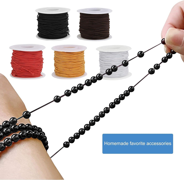 5 PCS Rund Gummiband Gummilitze 1mm 50M Lange Elastische B/änder Schnur Zum N/ähen und Handwerk rund Elastische Kordel Gummikordel f/ür DIY Perlenschmuck und Stringing Perlen