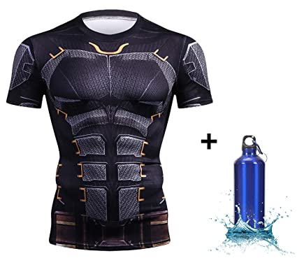 8b4a2104631e4 1Bar Short Sleeve Rash Guard Compression Shirt Superhero Marvel BJJ MMA  Wrestling Workout Plus Free Water Bottle