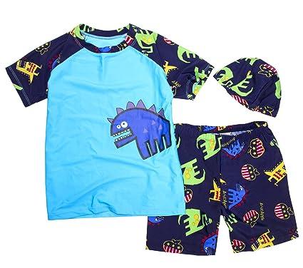 16f1b12bf8 stylesilove Kids Boy Cartoon Dinosaur Shark Rashguard Top & Swim Shorts  with Hat 3 pcs Set