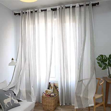 Window Curtain Home Office Window Curtains Grommet Panels White Stripe  Style For Living Room/Bedroom